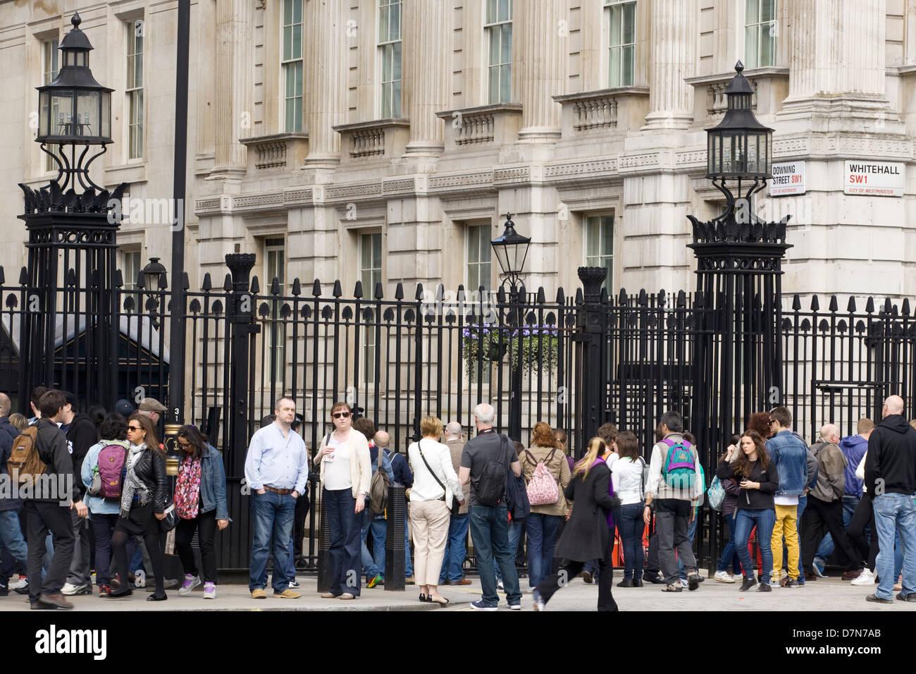 Crowds gathering outside 10 Downing Street London Famous Address Stock Photo