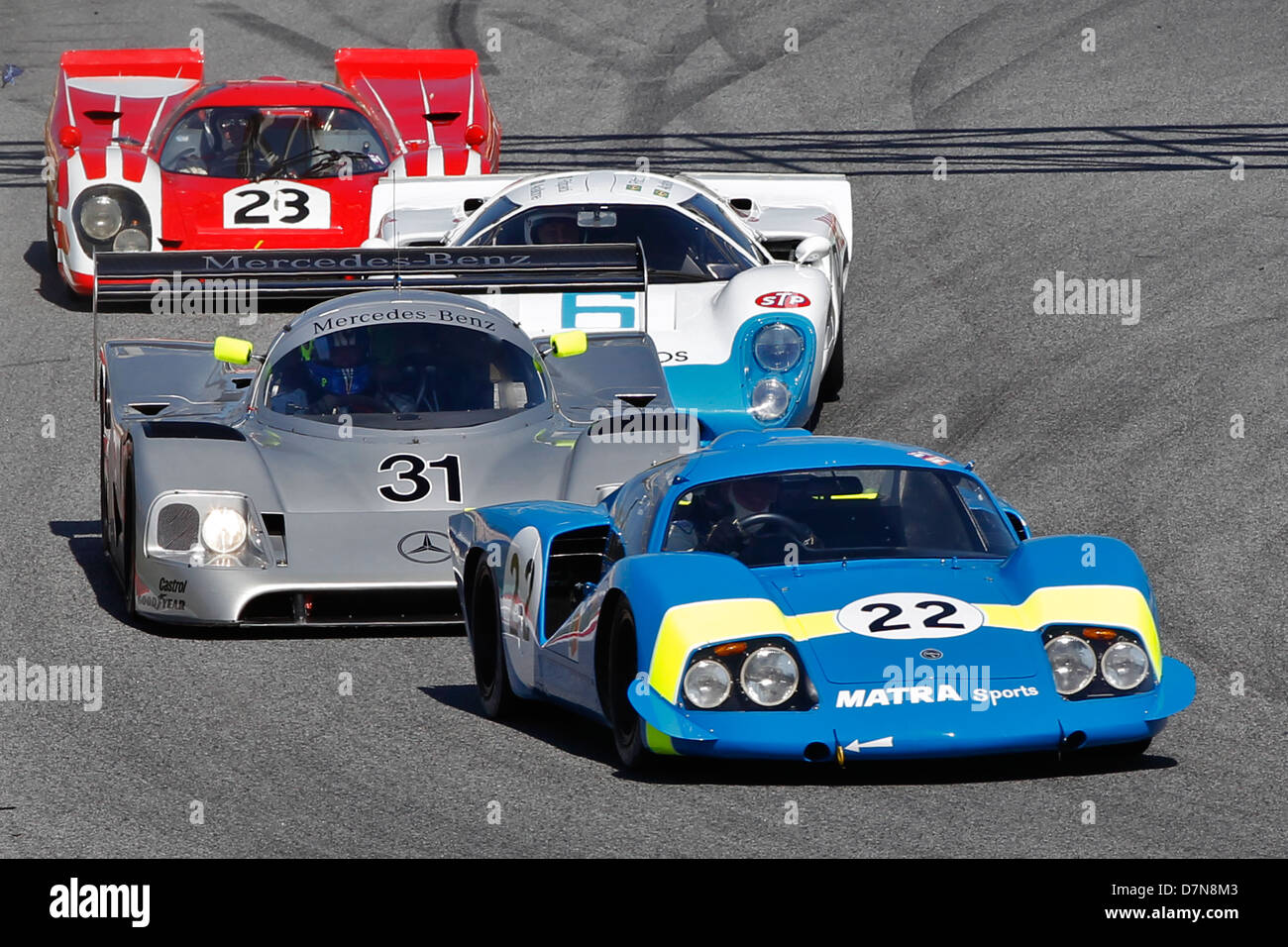 Group C race and Historic Sportscar practice at Barcelona Catalonia Classic Revival, Montmelo circuit, April 2013 Stock Photo