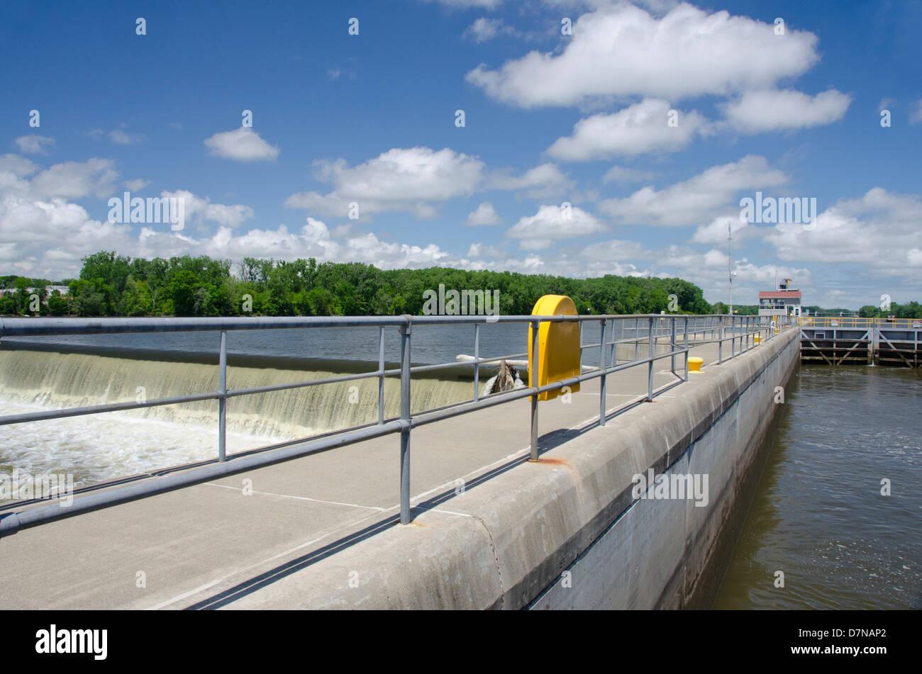New York, Troy. Hudson River, Federal Lock. Stock Photo