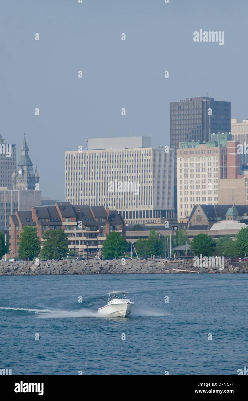 New York, Buffalo. Lake Erie view of historic downtown Buffalo skyline. - Stock Image