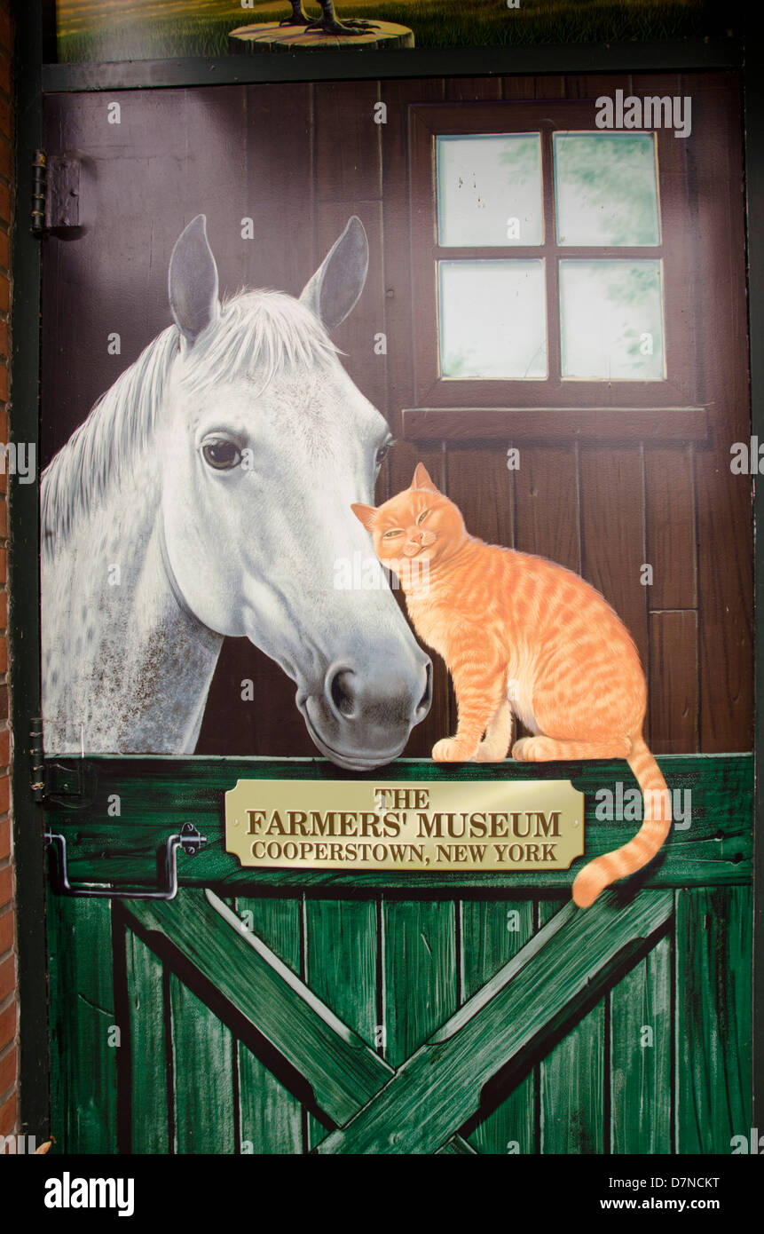 New York, Cooperstown, Farmers' Museum sign. Educational, tourism, or editorial use only. - Stock Image
