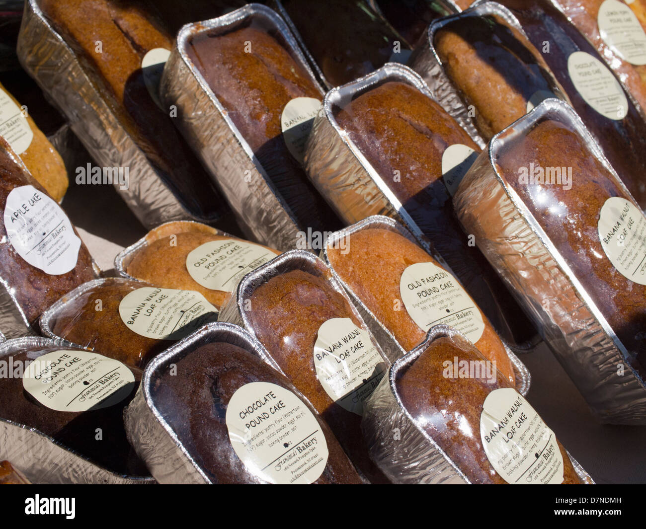 Cakes on display, Union Square Greenmarket, New York City - Stock Image