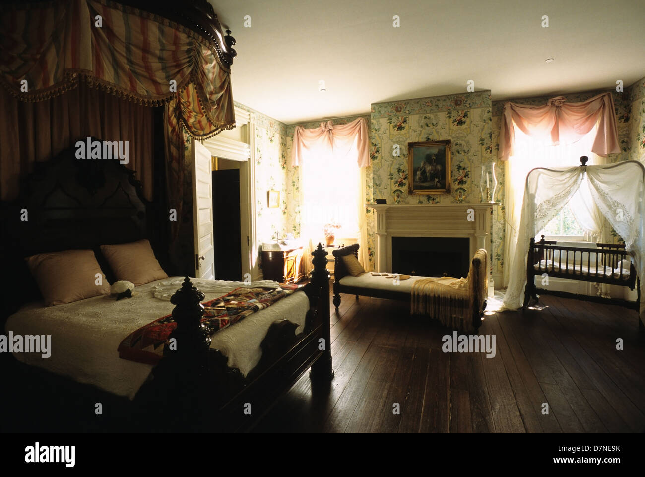 Elk283-3012 Louisiana, St Francisville, Rosedown Plantation State Historic Site, Mansion, 1836, bedroom - Stock Image
