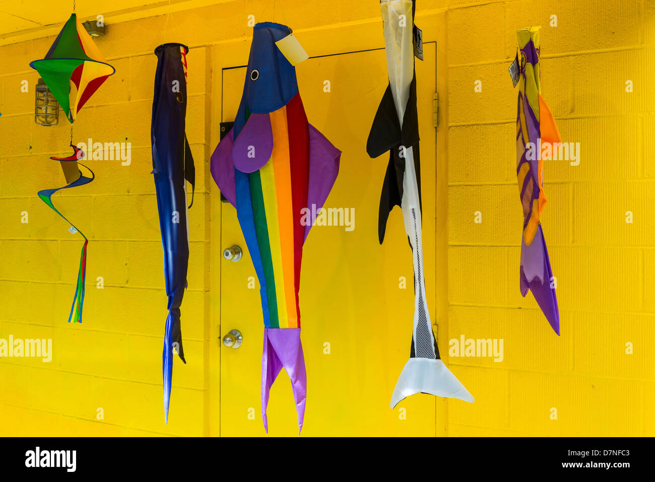 Colourful fish banners, Cowichan Bay, British Columbia, Canada - Stock Image