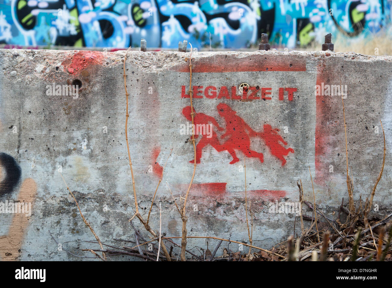 'Legalize it' stencil graffiti art in Austin, Texas - Stock Image