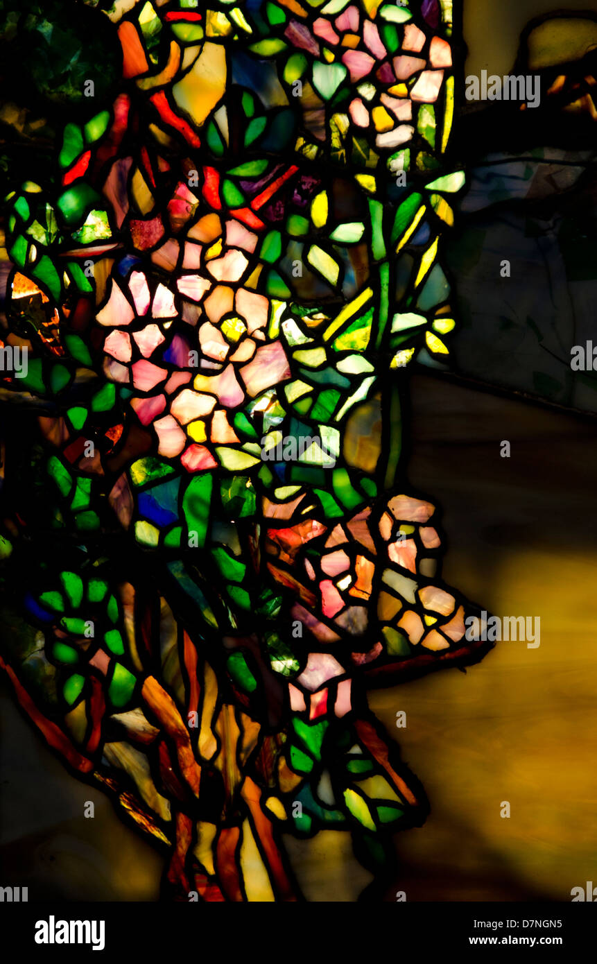 Ohio, Cleveland. The Cleveland Museum of Art. Tiffany art glass collection, vintage stained glass window. Stock Photo