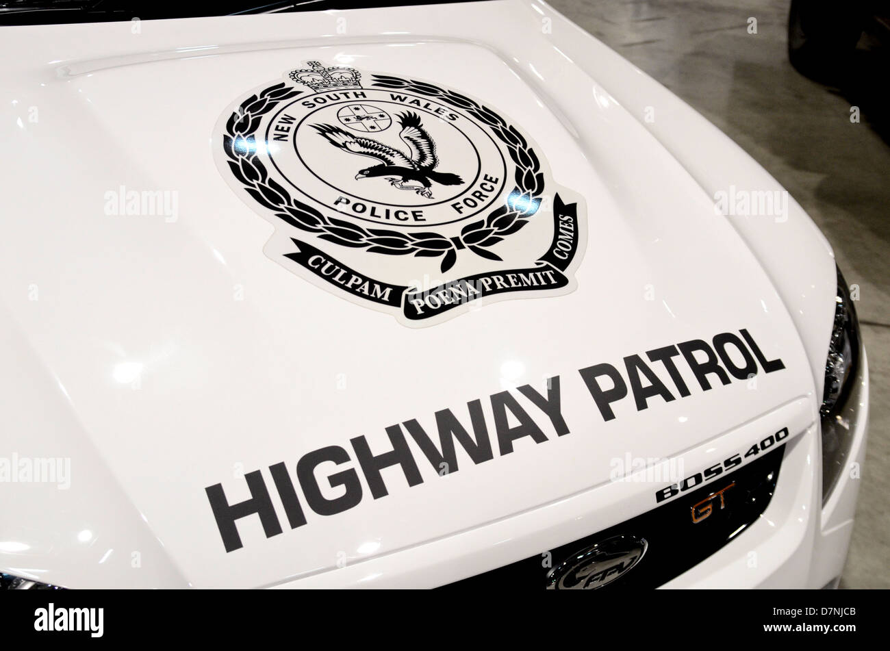 NSW Australia Police insignia on Highway Patrol car Stock Photo