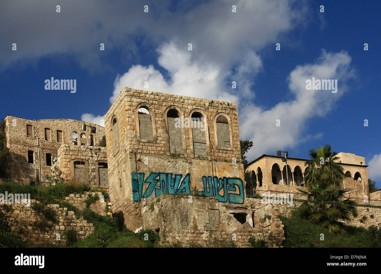 abandoned buildings in downtown Haifa - Stock Image