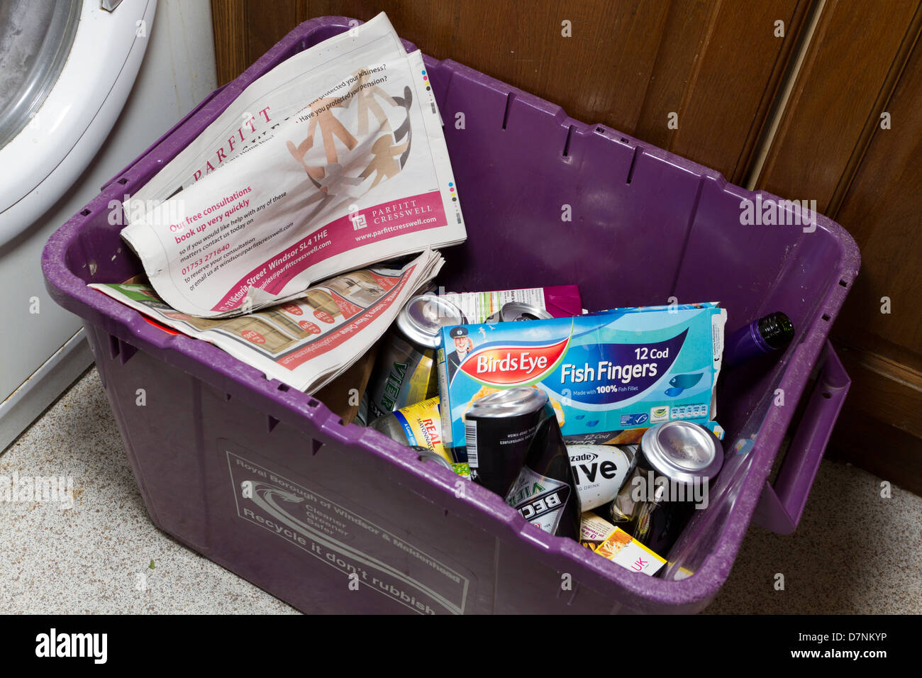 Household recycling bin in a kitchen, Berkshire, England, UK - Stock Image