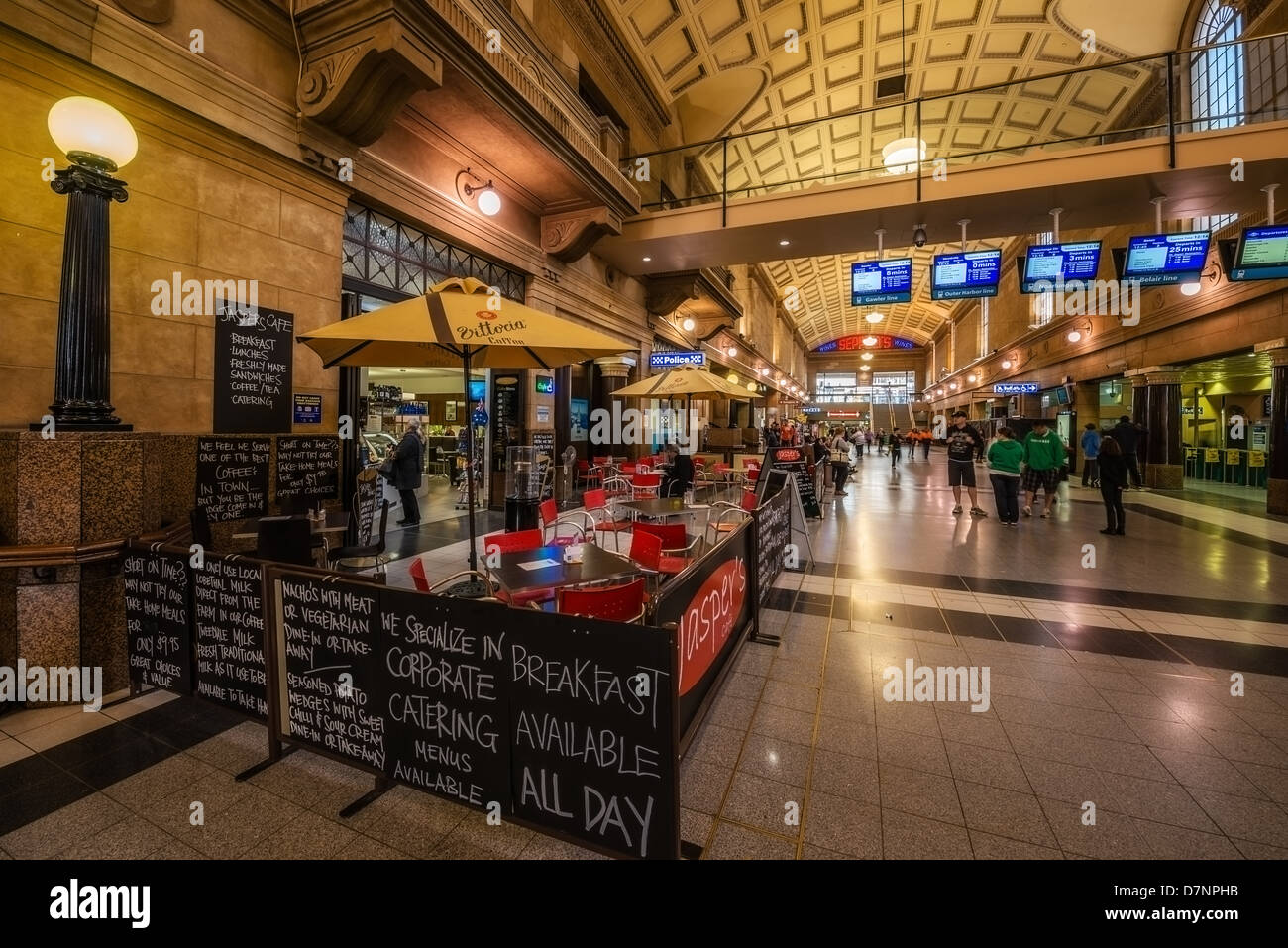 A café inside Adelaide's architecturally ornate central Railway Station. - Stock Image