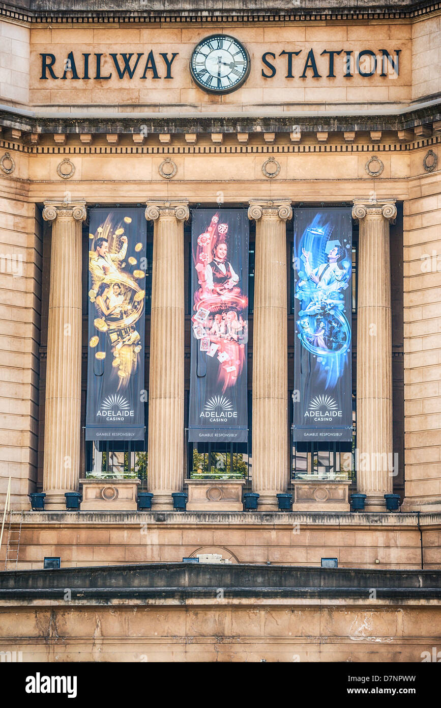 The facade of the architecturally ornate central Adelaide Railway Station. - Stock Image