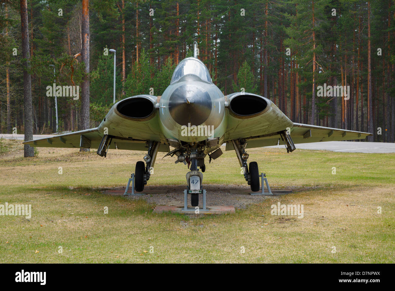 A retired Swedish-made Saab J-35 Draken fighter of the Finnish Air Force on display at the Halli base of Kuorevesi, - Stock Image