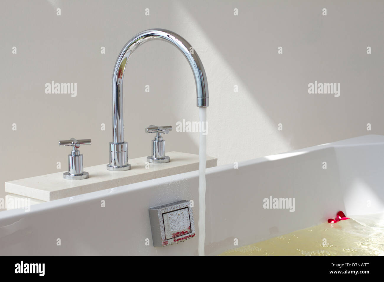 Luxury bath tub and faucet with water and flowers Stock Photo ...