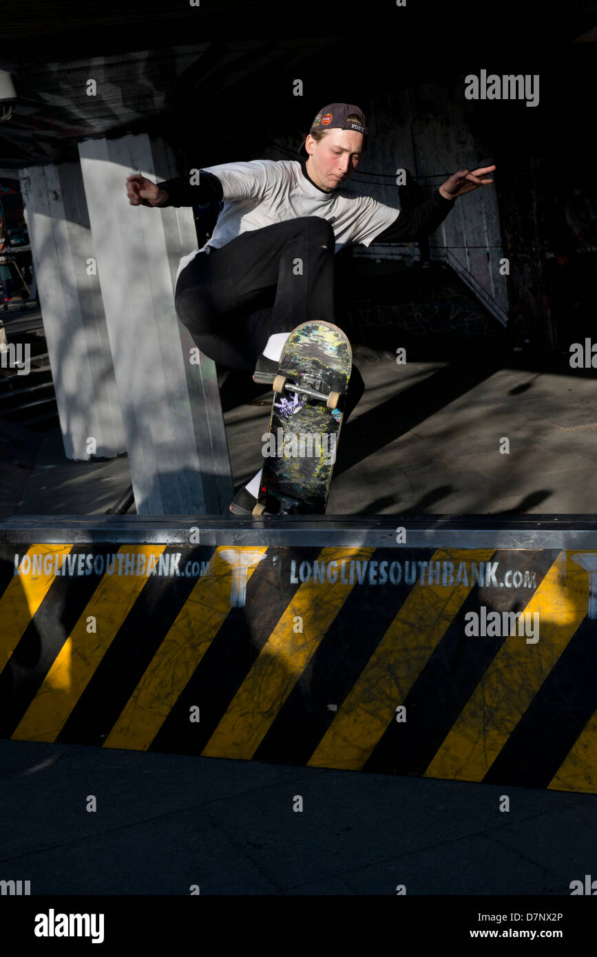 Skateboarder at a display held on the South Bank, London. - Stock Image