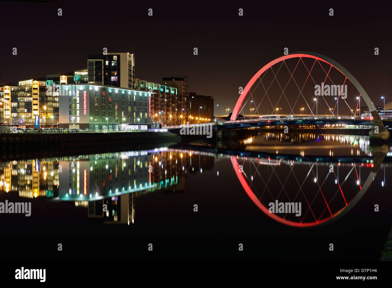 The Clyde Arc bridge reflected in the River Clyde, Glasgow, Scotland, UK - Stock Image