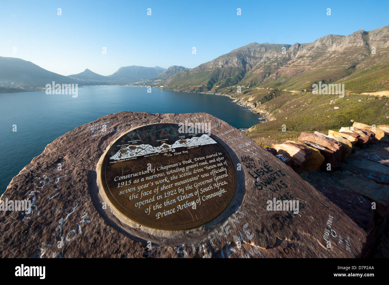 Information plaque at a viewpoint on Chapman's Peak drive, Cape Town, South Africa - Stock Image