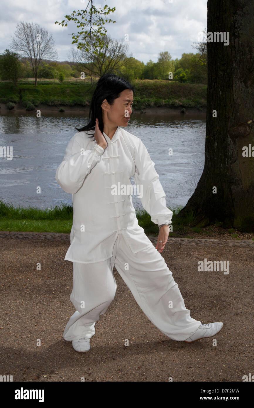 Preston, UK 11th May 2013.  Feixia Yu Director, Uclan Confucius Institute, demonstrates Taoist Tai Chi arts, at - Stock Image