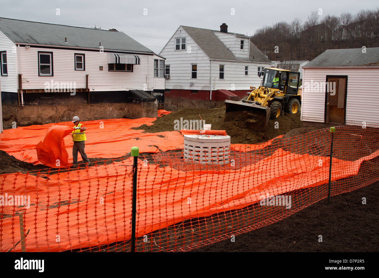 Homes built on polluted soil going through remediation in Hamden CT USA - Stock Image