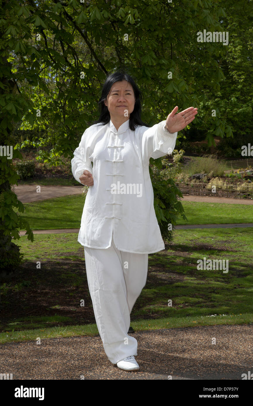 Preston, UK 11th May 2013.  Feixia Yu Director, Uclan Confucius Institute, demonstrates Taoist Tai Chi arts, at - Stock Image