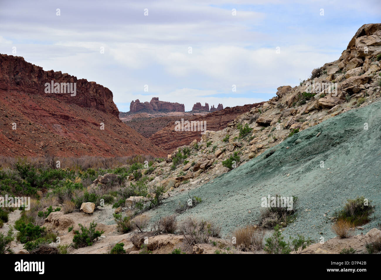 Multi-colored rock formation in the Arches National Park, Moab, Utah, USA. - Stock Image