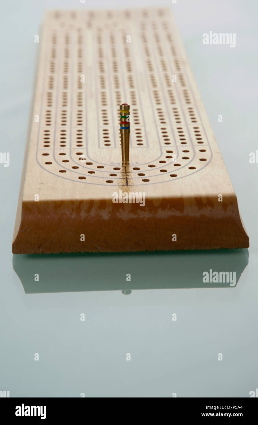 Close Up Of Cribbage Board Game On Table   Stock Image