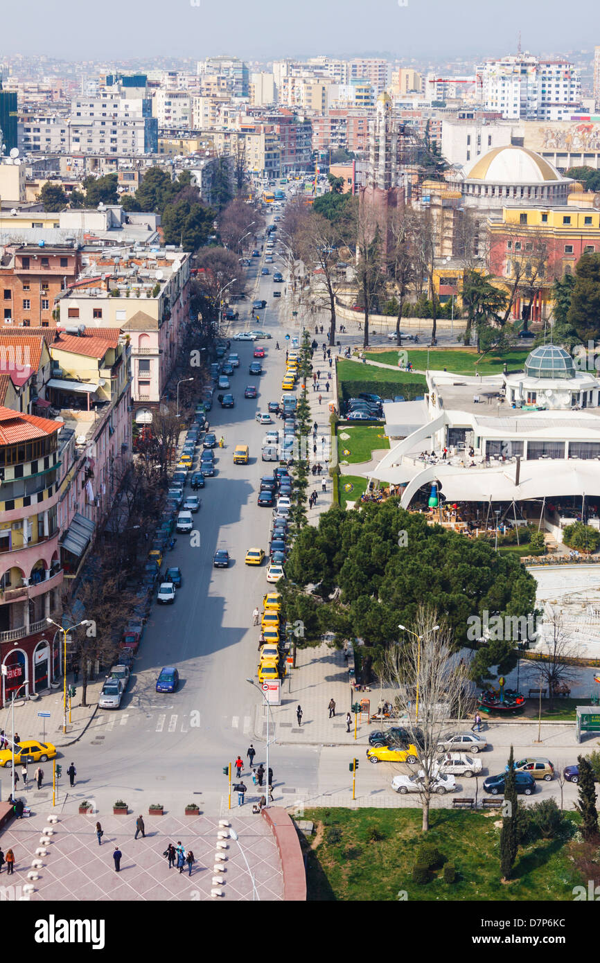 Tirana downtown overview with Rinia Park and Taivani center. Albania - Stock Image