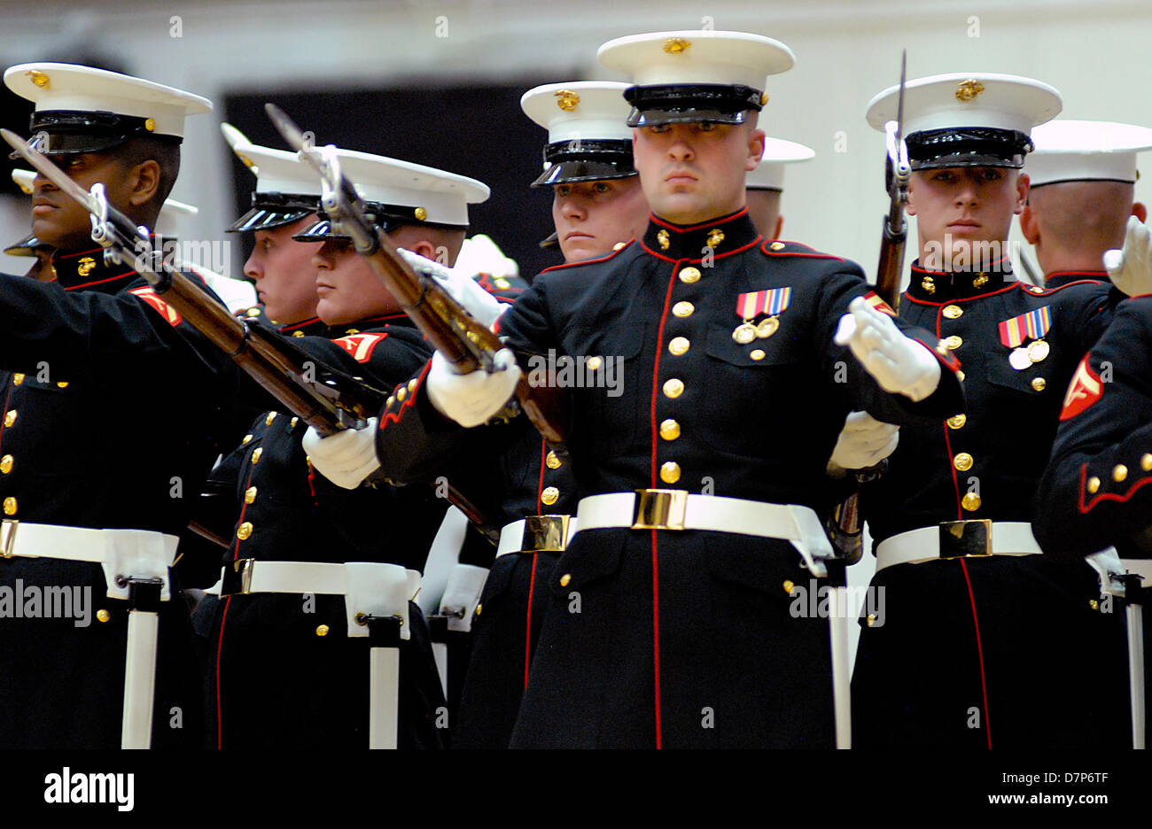 Colorado, U.S. May 11, 2013: The U.S. Marine Corps' elite Silent Drill Brigade perform following the Opening Ceremonies Stock Photo