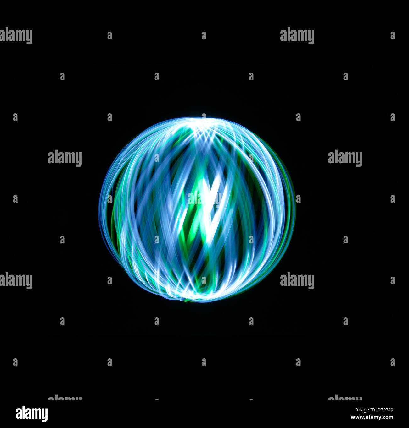 Light Painting Orbs and Spheres - Stock Image
