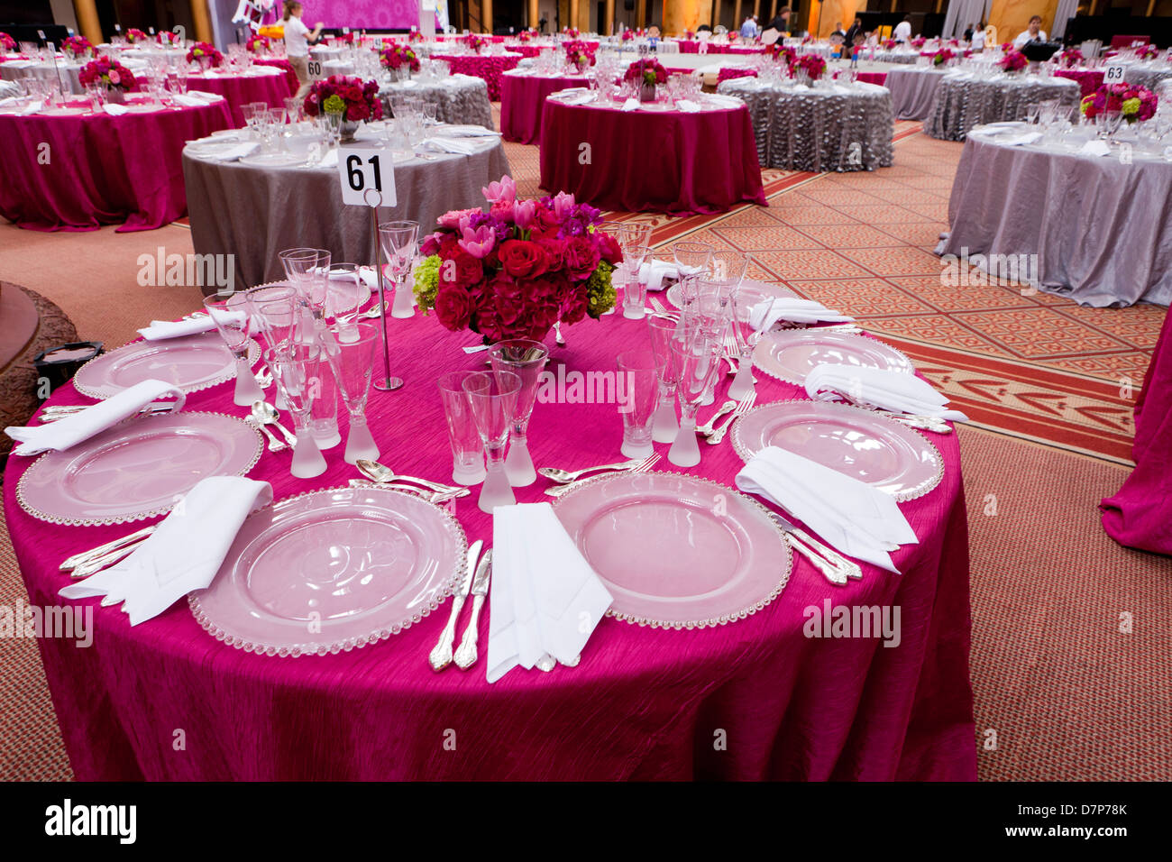 Dining table settings for large event - Stock Image