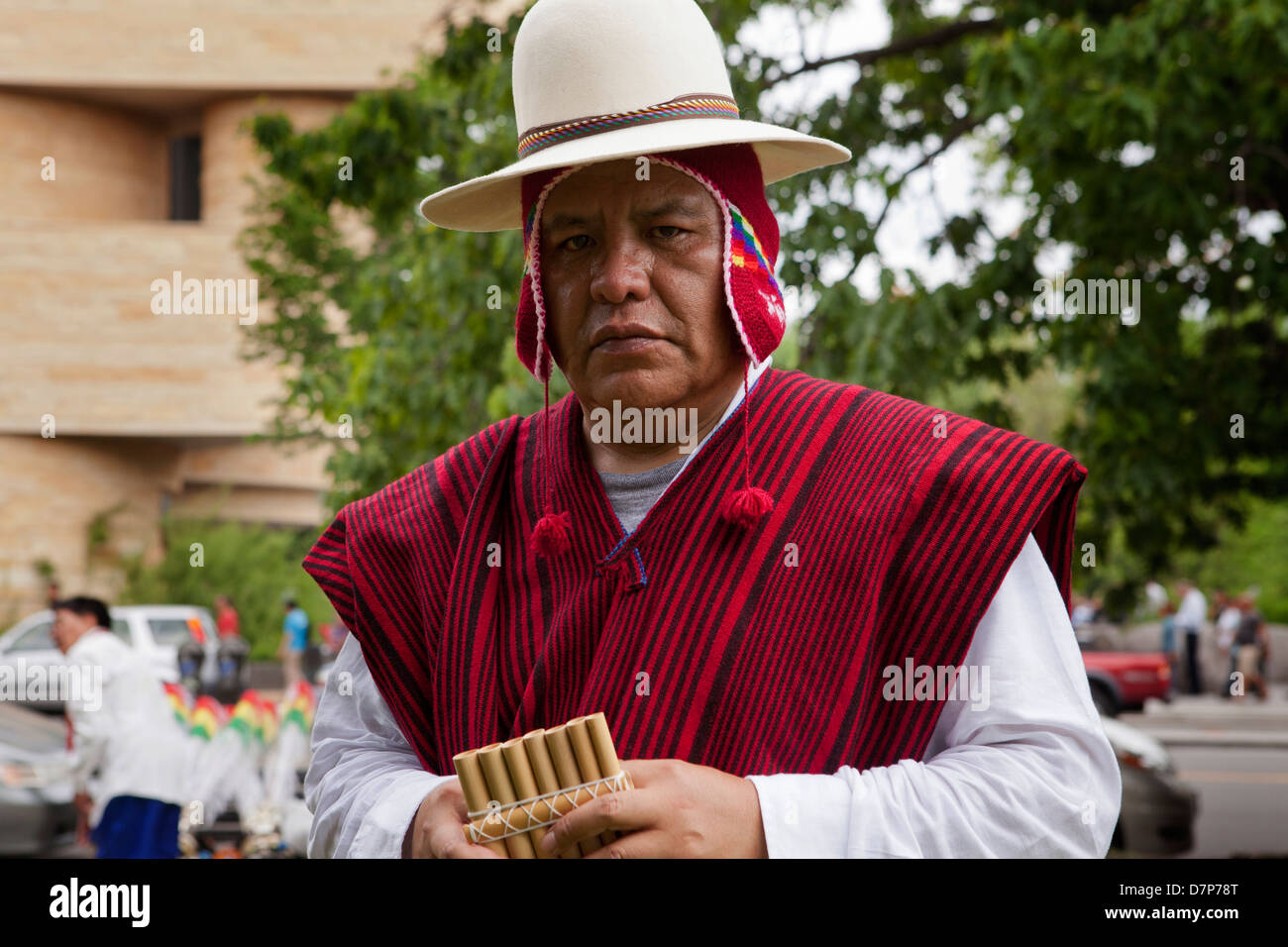 Traditional Bolivian pan flute player - Stock Image