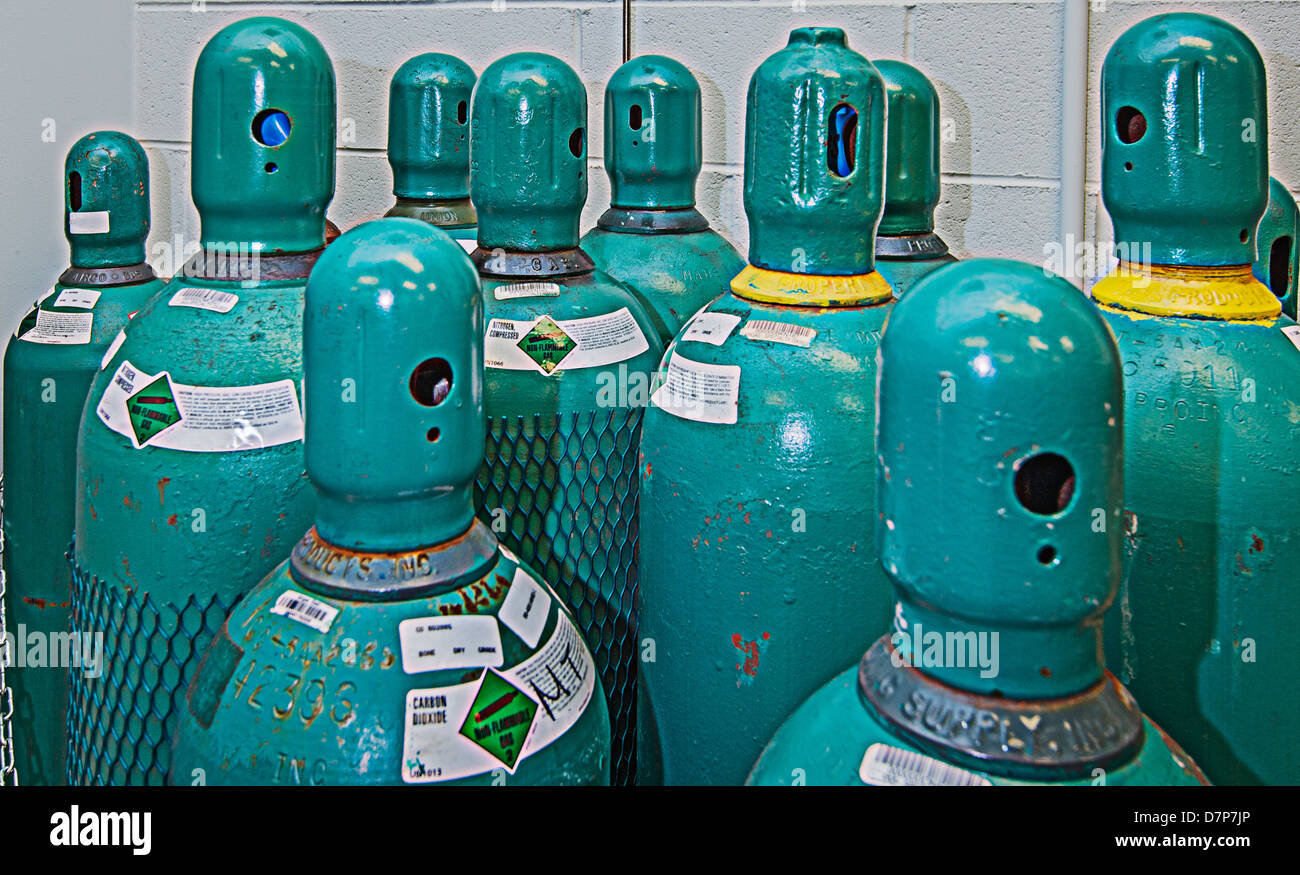 Compressed Gas Cylinders - Stock Image