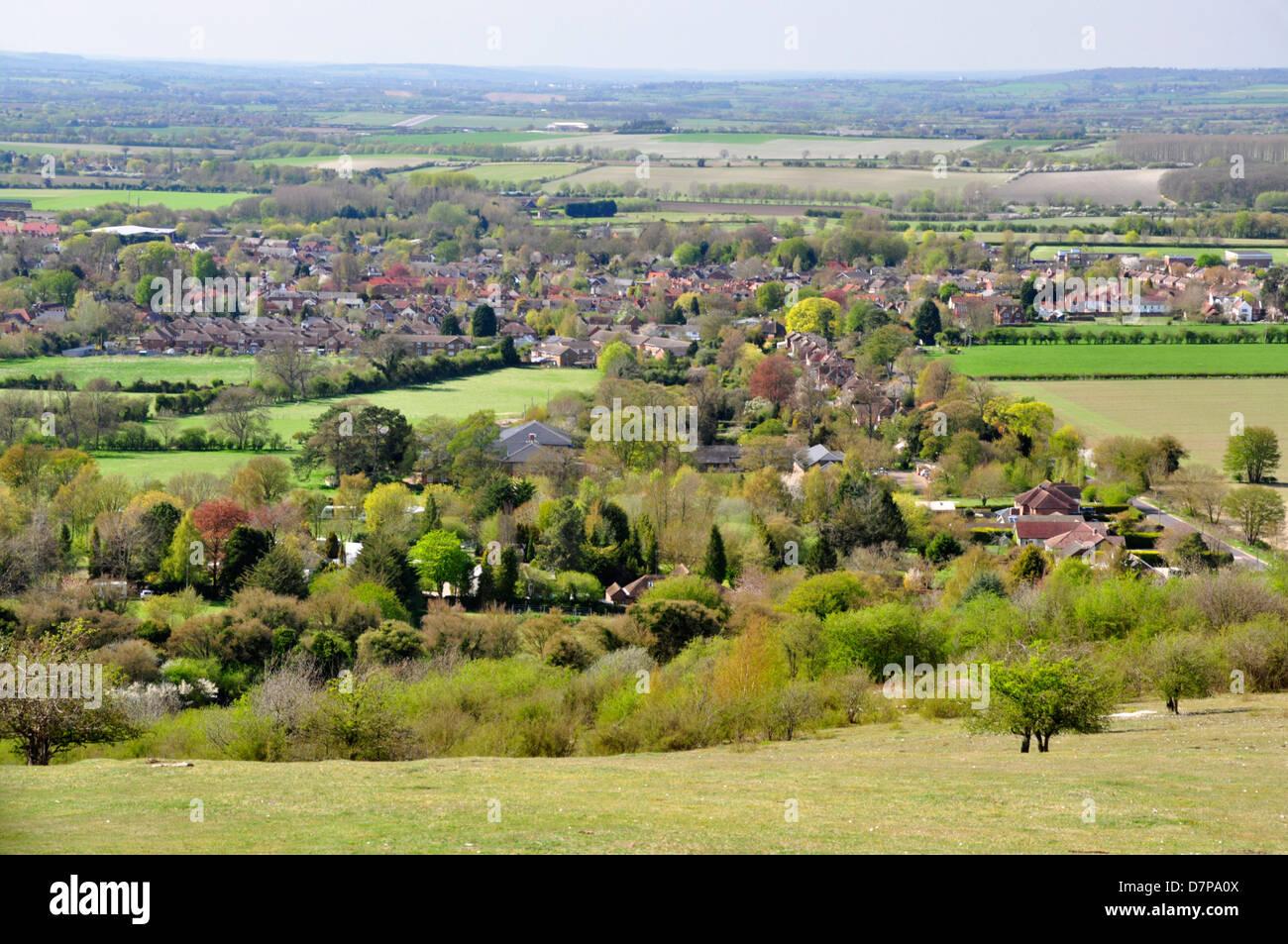 Oxon - Chiltern Hills - Watlington Hill - view over the ancient market town of Watlington - spring sunlight - Stock Image