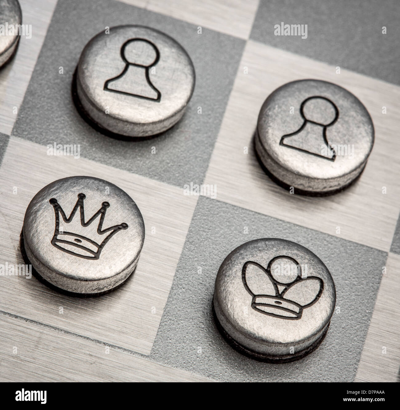 Photo of metal chess round shape. - Stock Image