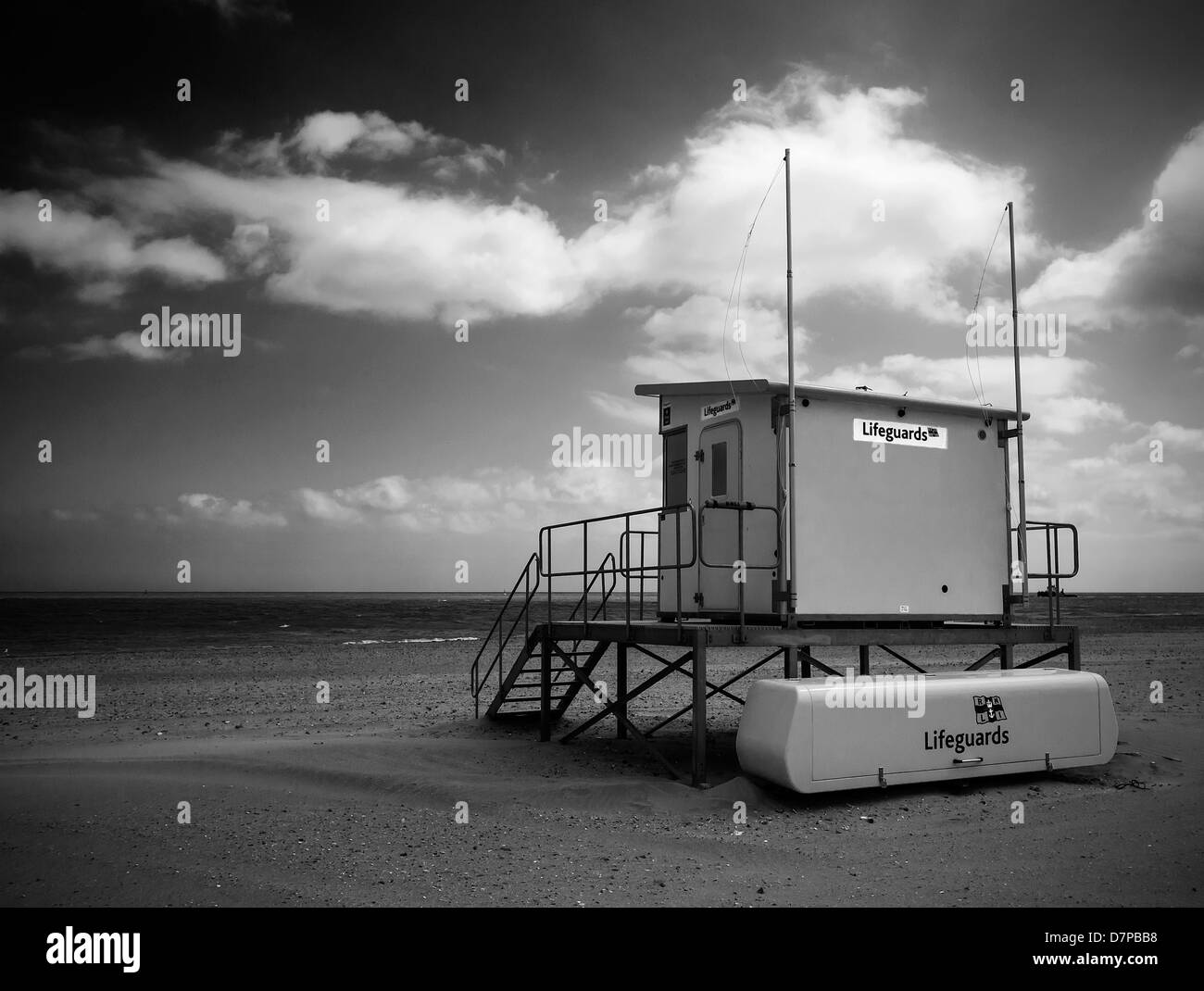 Lifeguard station on deserted beach at Ramsgate Kent  Monochrome Image - Stock Image