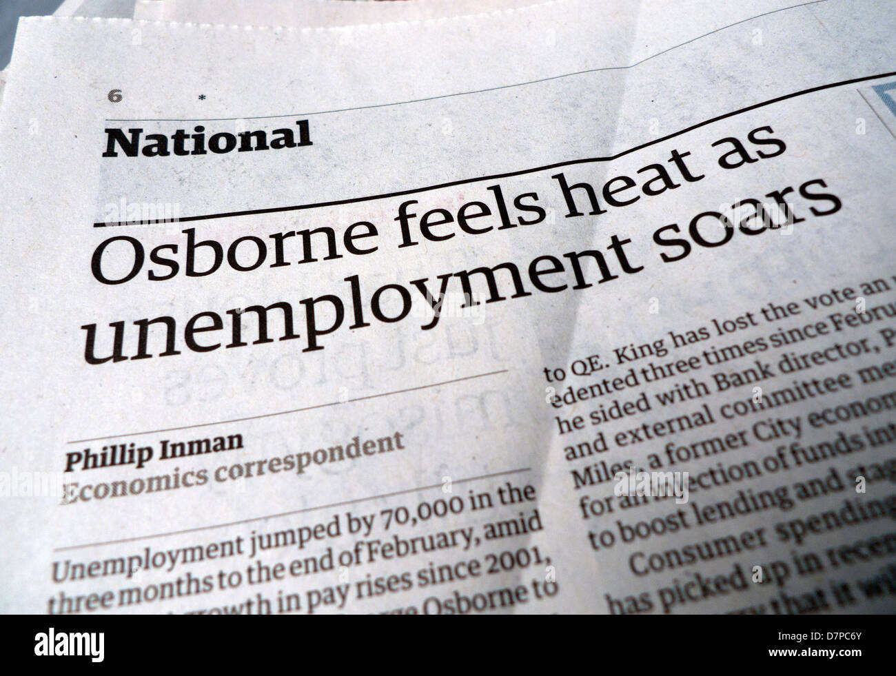 Guardian newspaper headline 'Osborne feels heat as unemployment soars' April 2013 - Stock Image