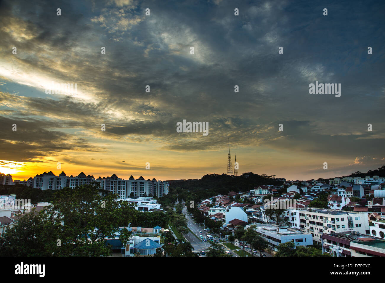 Sunset of Bukit Timah, Singapore - Stock Image