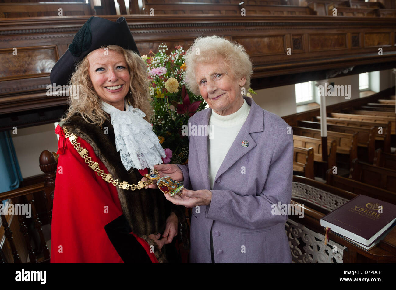Aberystwyth Wales UK, May 12th 2013, WENDY MORRIS-TWIDDY has this weekend been inaugurated as Mayor of the welsh - Stock Image