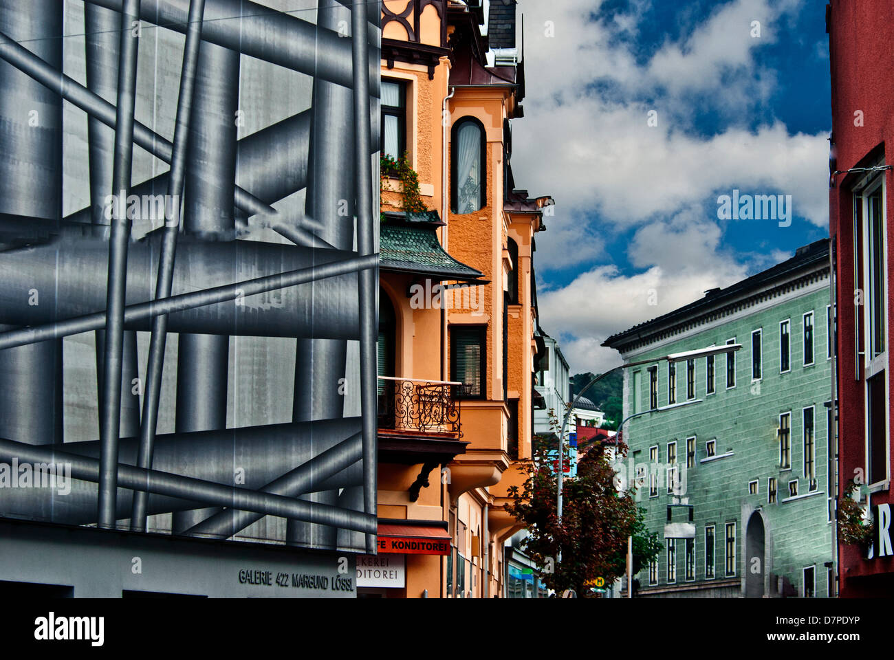 Building covered for renovation, Munich, Bavaria, Germany - Stock Image