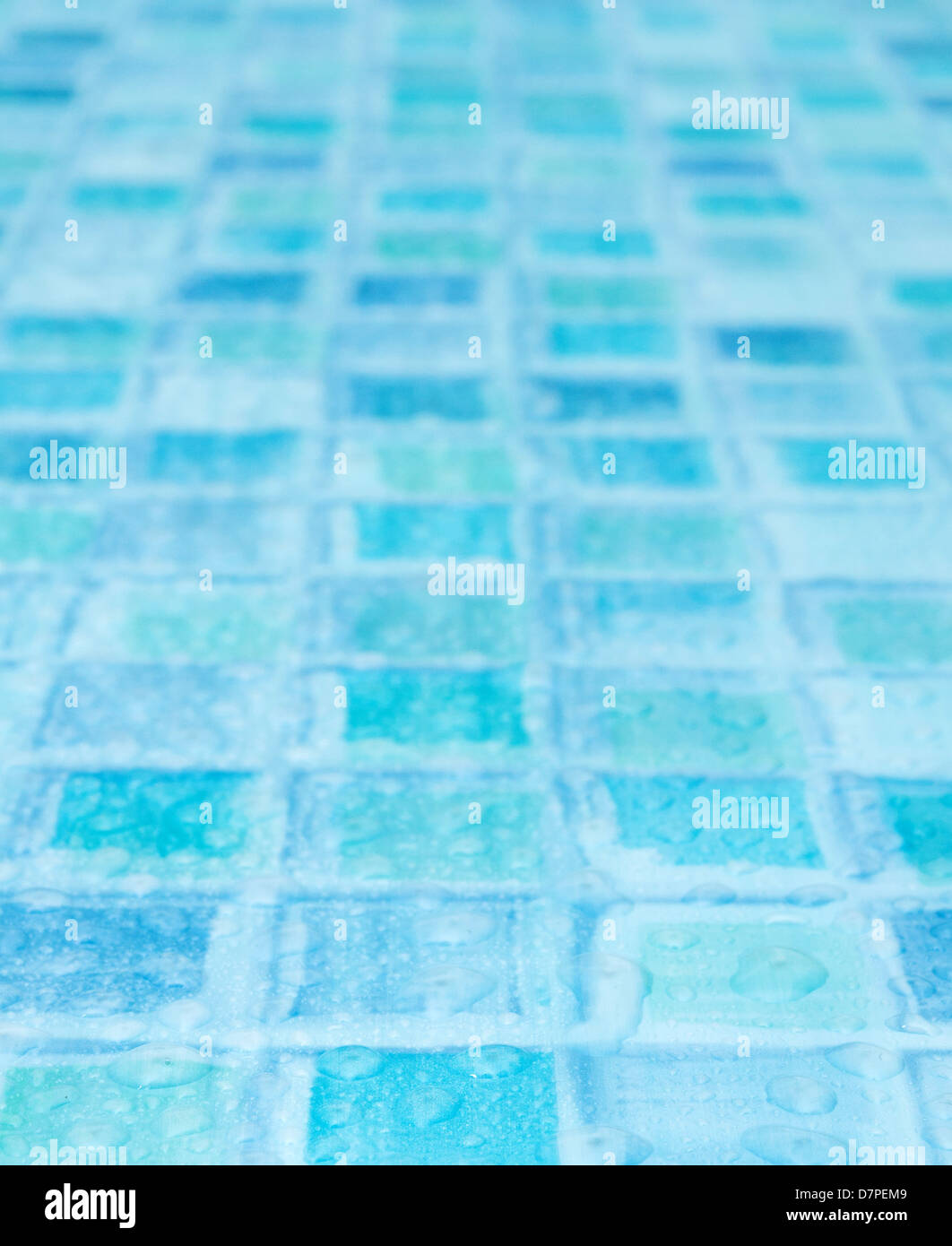 Blue Tiles in Bathroom With Water Drops - Shallow Depth of Field - Stock Image