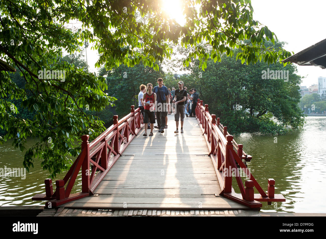 Hanoi, vietnam - Huc Bridge, Hoan Kiem Lake - Stock Image