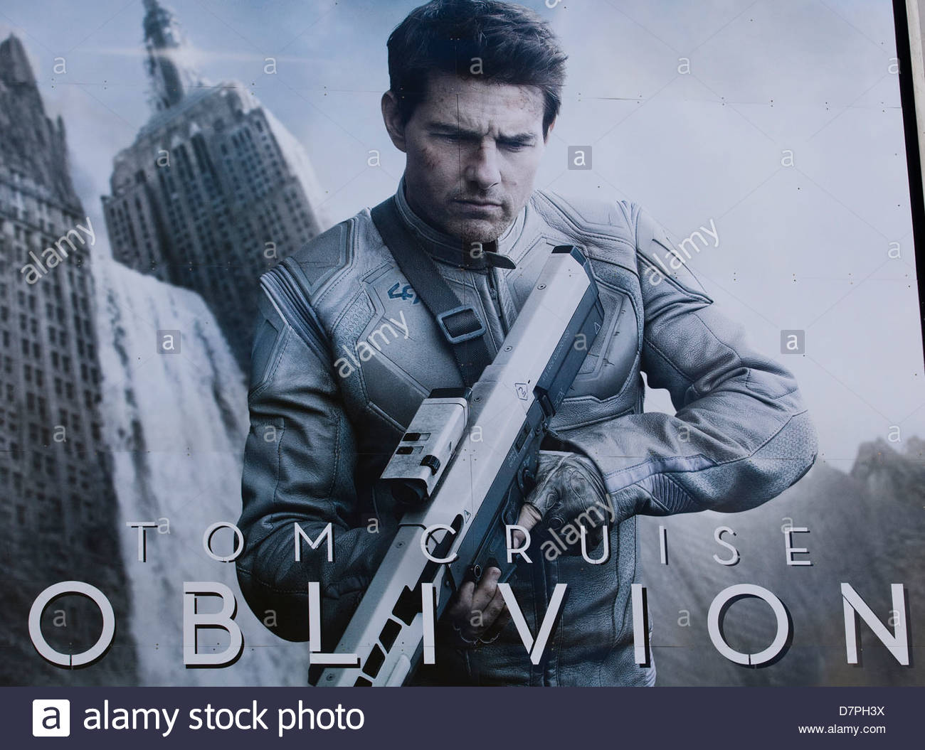 Billboard advertising the movie Oblivion starring Tom Cruise - Stock Image