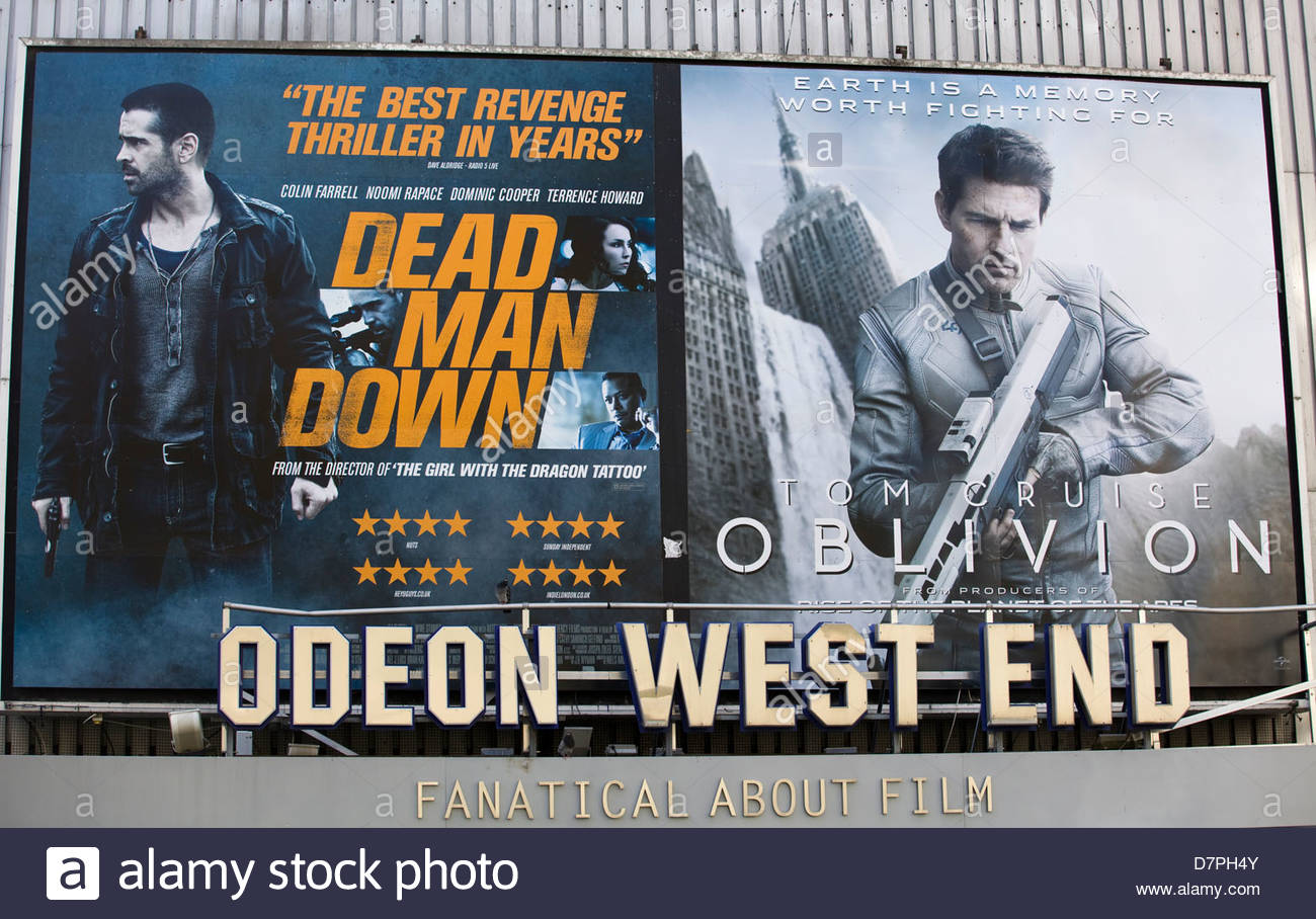Billboard advertising the movie Dead Man Down and Oblivion at the Odeon west end London - Stock Image
