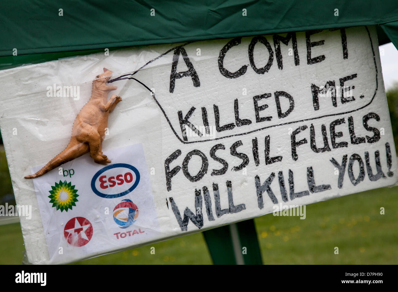 Southport, UK 12th May, 2013. Dinosaur Fossil fuels will kill you sign at Camp Frack 2 (CampFrack2)  a broad coalition - Stock Image