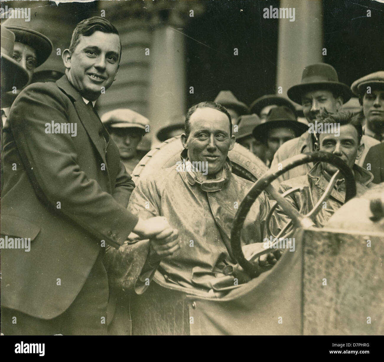 Dave Carrigan at wheel of a Willys Knight car, 1926 - Stock Image