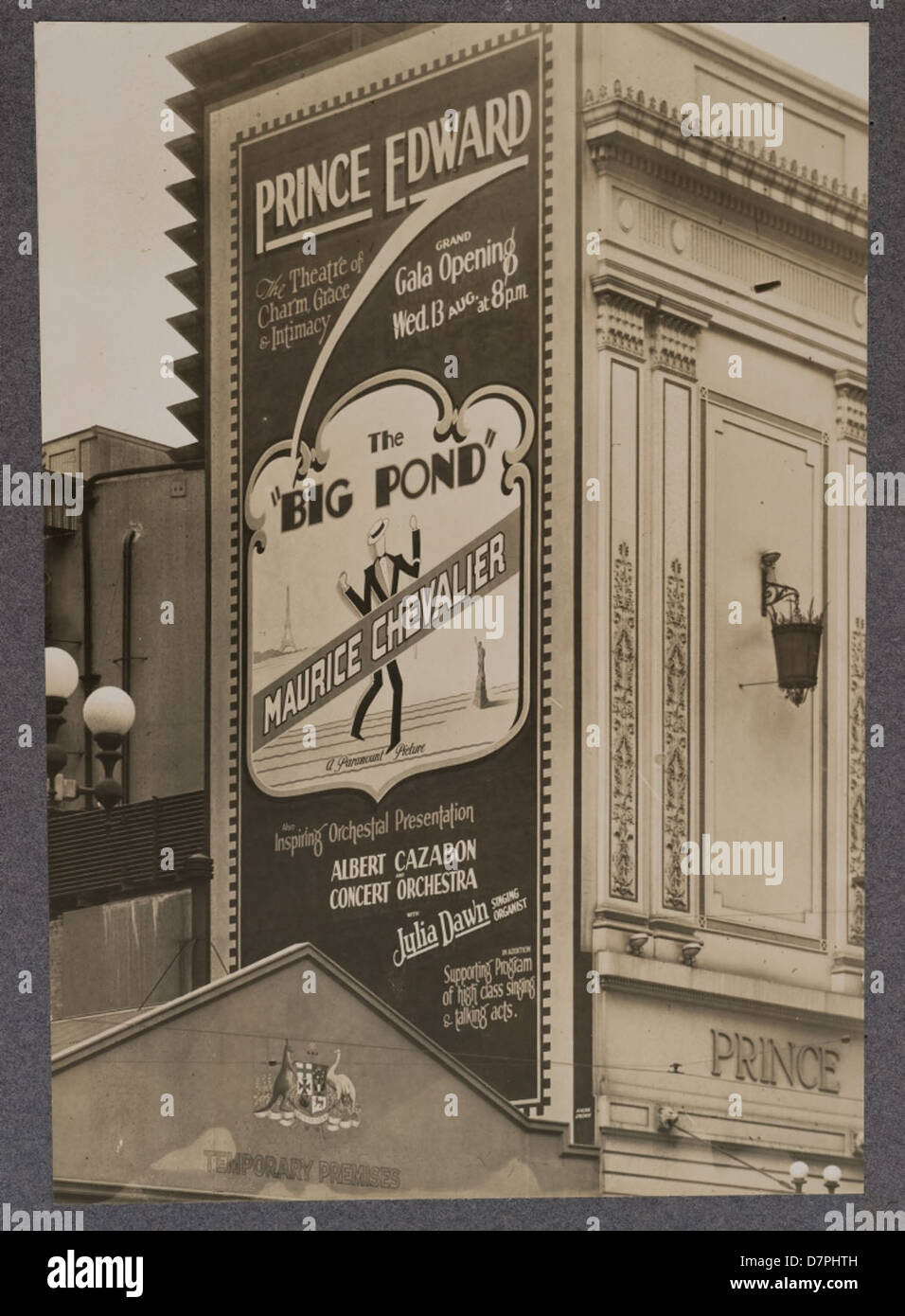 Large wall sign advertising the film 'The Big Pond', 1930 - Stock Image