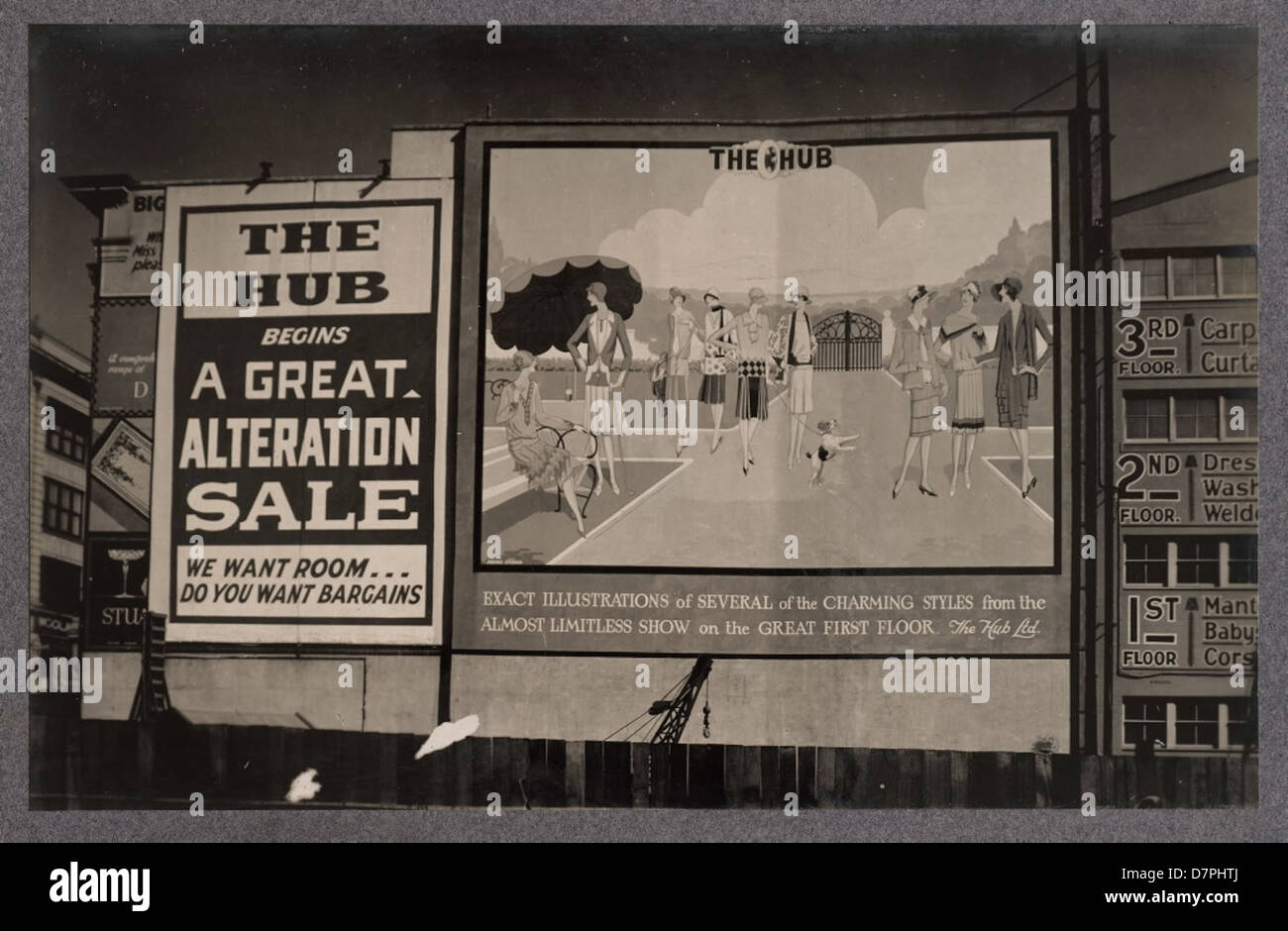 Large wall advertising signs for The Hub Ltd, 1920 - 1929 - Stock Image