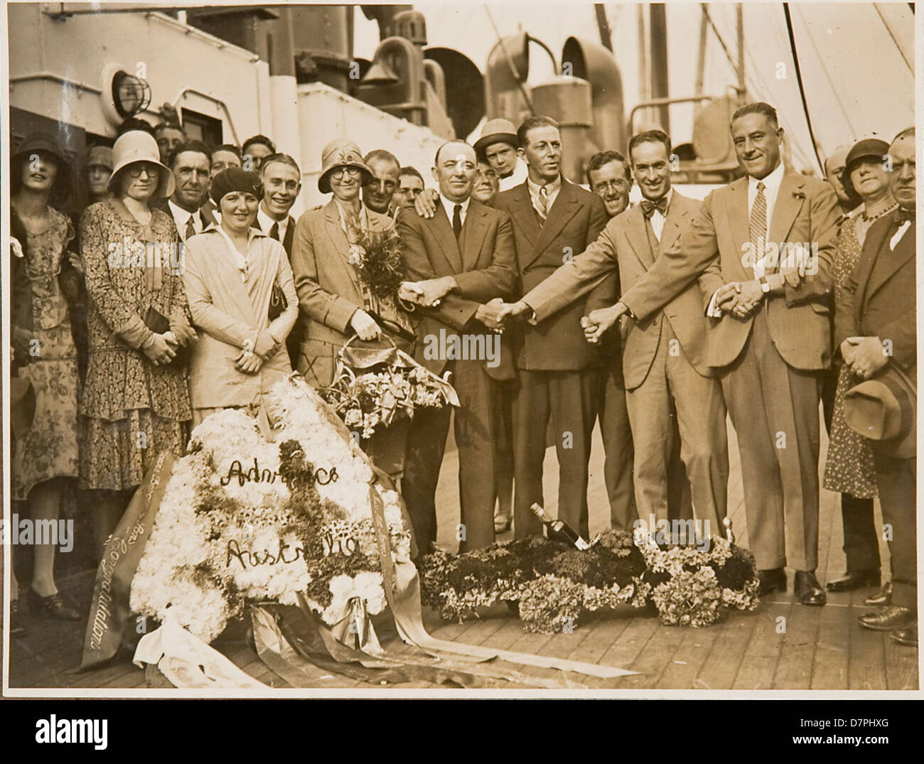 Group portrait on board S.S. Maunganui, 1926 - 1936 - Stock Image