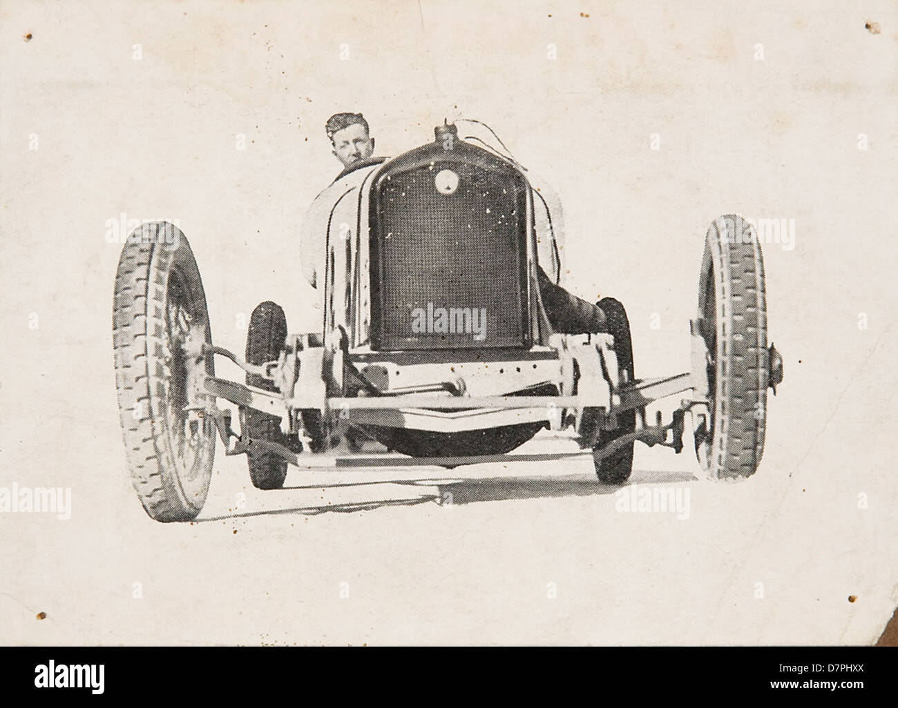D.J. Harkness at the wheel of an Overland Sports car, 1920 - 1929 - Stock Image