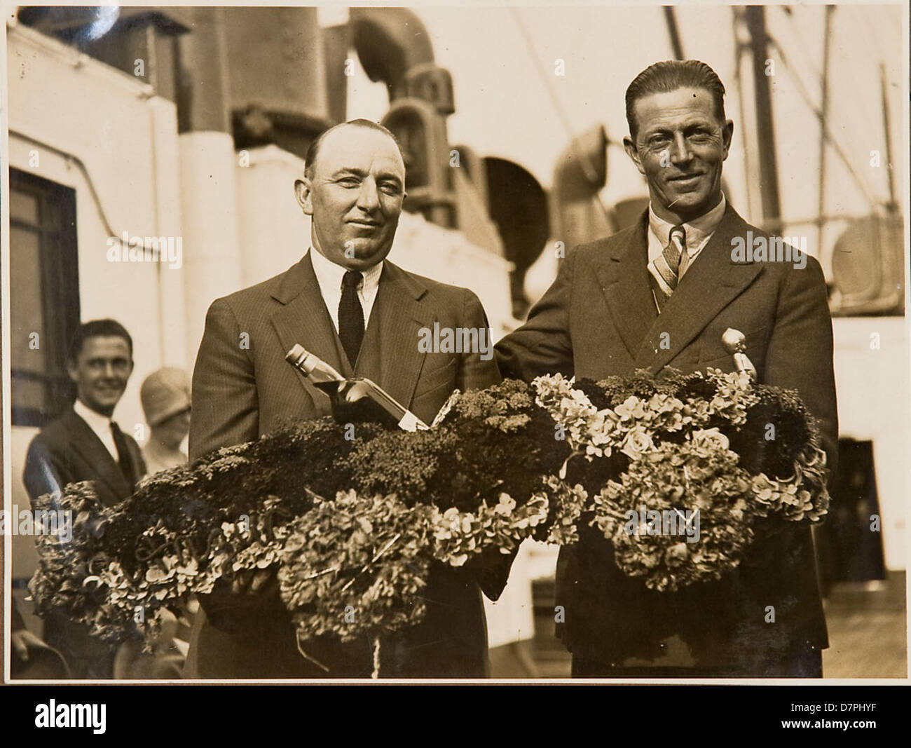 Norman 'Wizard' Smith and Don Harkness on board S.S. Maunganui, 1926 - 1936 - Stock Image