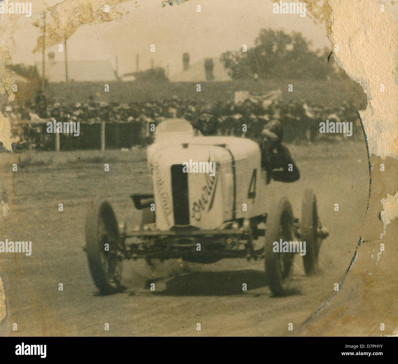 Don Harkness at the wheel of his Overland Sports car 'Whitey' at race meeting, 1920 - 1929 - Stock Image